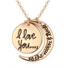 HN-1 Piece/Set New i love you to the moon and back Alloy Necklaces Pendant Women Men Jewellery Gift gold perimeter:46cm