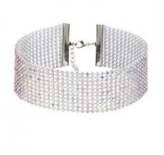 HN-1 Piece/Set New Full drill short necklace AB color diamond Choker Necklaces Pendant Women Mix color diamond 11 layer