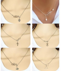 HN-1 Piece/Set New Birds owls leaves crosses Alloy Necklaces Pendant Women And Men Jewellery Gift as picture 1 as picture