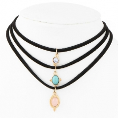 HN-3 Piece/Set New Leather Cord Turquoise Stone flannelette Necklaces Pendant Women Jewellery Gift black length:30cm