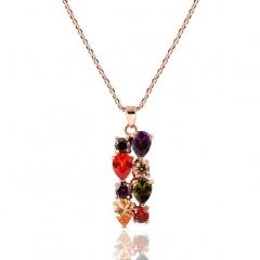 HN-1 Piece/Set New Monalisa colorful zircon Alloy Necklaces Pendant Women Jewellery Gift mix color chain length:40cm