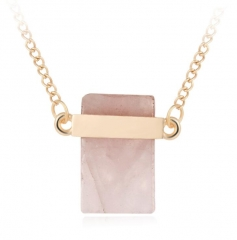 HN-1 Piece/Set New Oblong stone Alloy Necklaces Pendant Women Jewellery Gift pink chain length:70cm