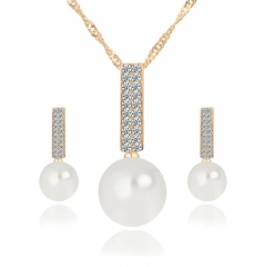 HN-3piece/Set New Vintage Pearl diamond Drops Necklace pendant stud earring Women Jewellery Gift gold as picture