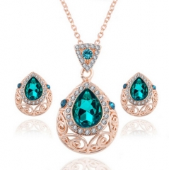 HN-3 piece/Set New Diamond Crystal drill Drops Necklace pendant stud earring Women Jewellery Gift Green as picture