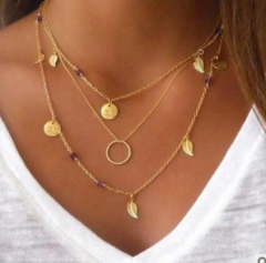 HN-1 piece/Set New Fashion Good luck 8 word frosted sequins combination Necklace gold as picture
