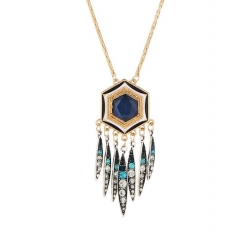 HN-1 piece/Set New Fashion Bohemia tassel hexagonal diamond necklace exaggerated personality blue as picture