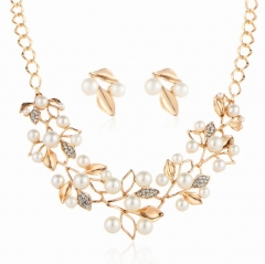 HN-3 piece/Set New Fashion High grade pearl crystal Leaf Necklace Jewellery gold as picture