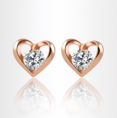 HN-1 Pair/Set New Fashion Metal love crystal zircon Stud Earrings For Women Jewellery Gift gold as picture