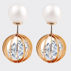 HN-1 Pair/Set New Fashion Metal Pearl crystal zircon Stud Drop Earrings For Women Jewellery Gift gold as picture