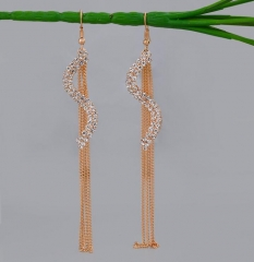 HN-1 Pair/Set New Fashion Ol quality flash drill Stud Drop Earrings For Women Jewellery Gift gold as picture