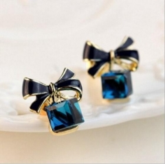 HN-1 Pair/Set New Fashion Crystal butterfly knot Stud Drop Earrings For Women Jewellery Gift blue as picture