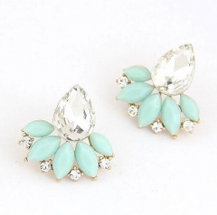 HN-1 Pair/Set New Fashion OL shiny gem branches leaves Stud Drop Earrings For Women Jewellery Gift Light blue as picture