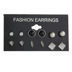 HN-6 Pair/Set New Fashion Fine diamond Alloy Stud Drop Earrings For Women Jewellery Gift silver as picture