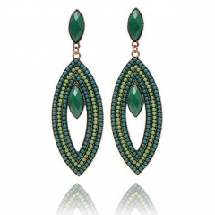 HN-1 Pair/Set New Fashion Bohemia wind Diamond Beads Stud Drop Earrings For Women Jewellery Gift green as picture