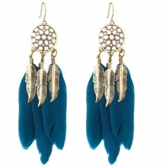 HN-1 Pair/Set New Fashion Feather leaves Stud Drop Earrings For Women Jewellery Gift blue as picture