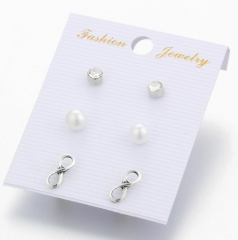 HN-3 Pair/Set New Fashion 8 words unlimited love diamond Stud Drop Earrings For Women Jewellery Gift silver as picture