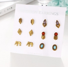 HN-6 Pair/Set New Fashion Round retro totem jewel Stud Drop Earrings For Women Jewellery Gift gold as picture