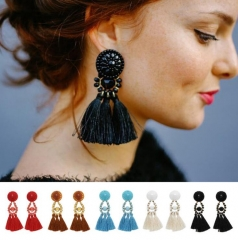 HN-1 Pair/Set New Fashion Fringed quartz meter Stud Drop Earrings For Women Jewellery Gift Sky blue as picture