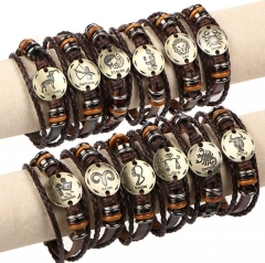 HN-1 Piece/Set New Fashion 12 constellation Woven leather Bracelets Bangles Men Women Jewellery Capricornus as picture