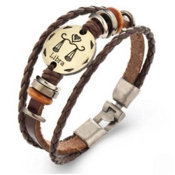 HN-1 Piece/Set New Fashion 12 constellation Woven leather Bracelets Bangles Men Women Jewellery Libra as picture