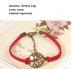 HN-1 Piece/Set New Fashion Multi layer weaving circle tree Bracelets Bangles Women Men Jewellery red as picture