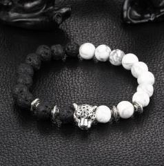 HN-1 Piece/Set New Natural volcanic leopard head Bracelets Bangles Men Jewellery white+black as picture