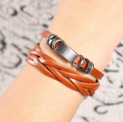 HN-1 Piece/Set New Metal Vintage male leather Bracelets Bangles Women Men Jewellery brown as picture