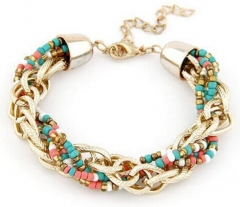 HN-1 Piece/Set New Metal All-match weave beads Bracelets Bangles Women Jewellery Colorful as picture