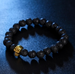 HN-1 Piece/Set New Metal Skull of natural stone Bracelets Bangles Women Jewellery black 1 as picture