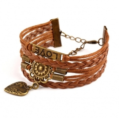 HN-1 Piece/Set New Multilayer all-match skin Bracelets Bangles Women Jewellery brown as picture