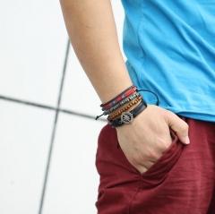 HN-1 Piece/Set New Metal Retro compass Bracelets Bangles Men Jewellery black as picture