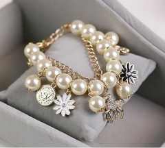 HN-1 Piece/Set New Metal Pearl multilayer Bracelets Bangles Women Jewellery gold as picture