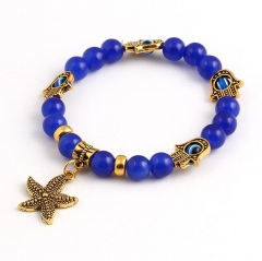 HN-1 Piece/Set New Bohemia star anchor beads Bracelets Bangles Women Men Jewellery Gold+blue as picture
