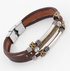 HN-1 Piece/Set New Bohemia Braided leather Bracelets Bangles Men Jewellery brown as picture
