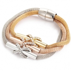 HN-1 Piece/Set New Gold wire crystal flower twist 8 word cross magnet Bracelets Bangles Women as picture one size