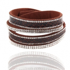 HN-1 Piece/Set New Bohemia Multilayer drilling Bracelets Bangles Women Men Jewellery brown as picture