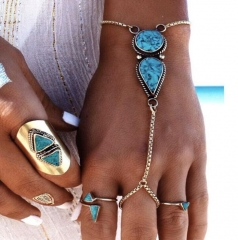 HN-1 Piece/Set New beach retro national Turquoise even fingers Bracelets Bangles Women Jewellery silver as picture