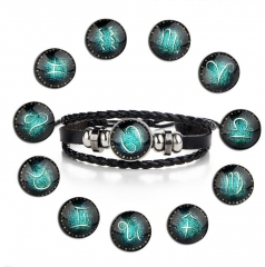 HN-1 Piece/Set New Lovers of twelve constellations leather Bracelets Bangles Women Men Jewellery Cancer as picture