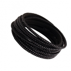 HN-1 Piece/Set New Lovers Multilayer diamond cortex Bracelets Bangles Women Men Jewellery black as picture