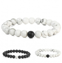 HN-1 Piece/Set New Lovers Natural stone matte black beads Bracelets Bangles Women Men Jewellery White as picture