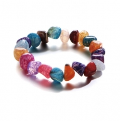 HN-1 Piece/Set New Irregular ice cracks stone agate hand beads Bracelets Bangles Women Men Jewellery Colorful as picture