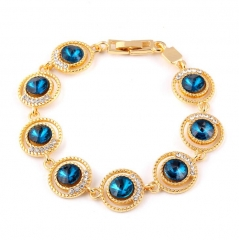HN-1 Piece/Set New Bohemia Small Gold zircon Turquoise Bracelets Bangles Women Men Jewellery blue as picture
