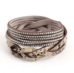 HN-1 Piece/Set New Multi layer crystal handmade leather crystal Bracelets Bangles Women Jewellery Gray as picture