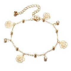HN-1 Piece/Set New Creative bell roses alloy crystal Anklets Bracelets Bangles Women Men Jewellery gold as picture