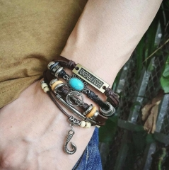 HN-1 Piece/Set New Leather weaving can be adjusted in size Bracelets Bangles Men Jewellery brown as picture