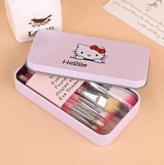 HN-7 piece/Set New Fashion Cosmetic brush Hello KT Cat make up Tool Women Jewellery Beautiful GIfts Pink
