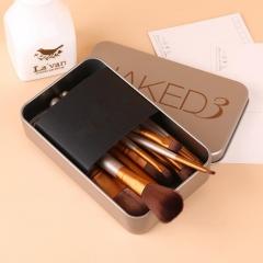 HN-12 piece/Set New Fashion NK3 Tin makeup brush Make up brush set Women cosmetic brush portable bag As Picture