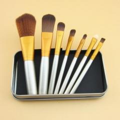 HN-7 piece/Set New Fashion Mini Nylon wire Tin brush set Women Beauty Makeup tools Bags Gifts Silver