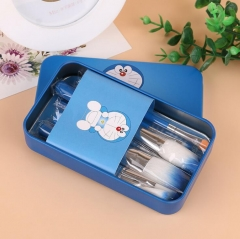 HN-7 piece/Set New Fashion Mini Nylon wire Cat Boxed iron brush Women Beauty Makeup tools Bags Gifts Blue