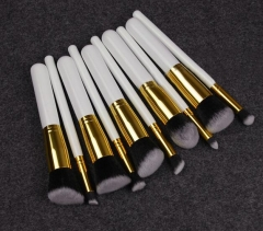 HN-10 piece/Set New Fashion Medium Brush Wooden handle nylon Women Beauty Makeup tools Bags Gifts White+Gold tube